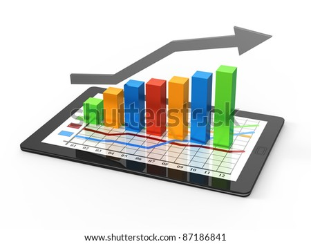 Computer tablet with business growth graph