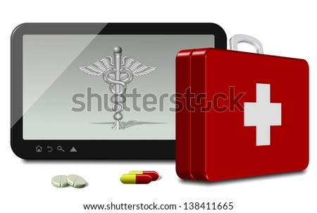 Computer tablet with medical symbol and first aid suitcase / Online health insurance