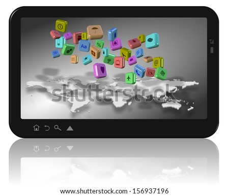 Computer tablet with world map and app icons on its screen / Social network apps