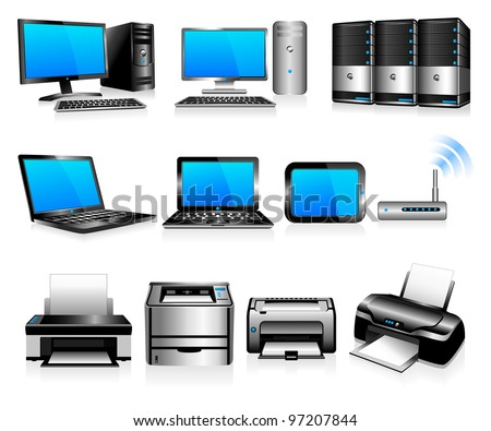 Computer Technology - Computers, Desktops, PC, laptops, Servers and Printers - Raster Version