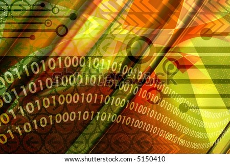 Computer technology elements with binary data leaks in abstract colorful background