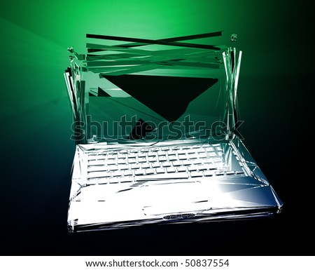 Computer technology failure with broken notebook concept illustration - stock photo