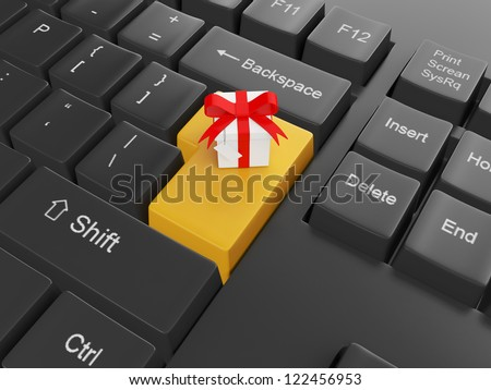 Computer technology. Keyboard with a gift Enter key to send a gift to a friend