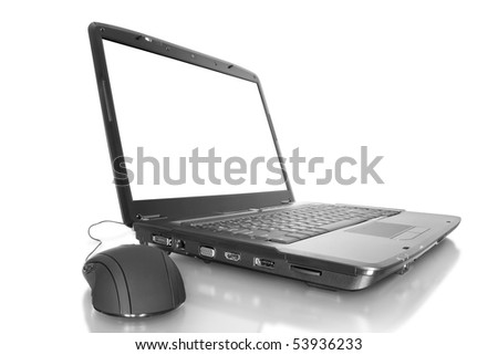 computer technology. modern laptop isolated on white background with mouse