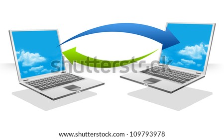 Computer Transfer Data For Peer 2 Peer Concept Isolated on White Background