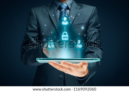 Computer users connected via virtual private network. Private network security concept.