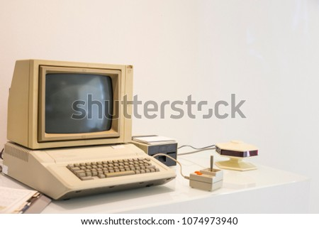 computer vintage  with white background