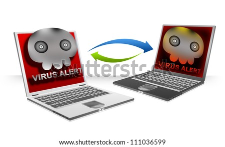 Computer Virus Concept Present By Computer Laptop Connected By Peer To Peer, The Infected Computer Laptop Transfer Computer Viruses Attach in Email Isolated on White Background