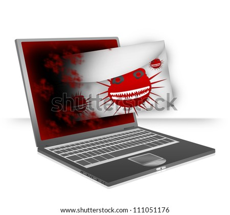 Computer Virus Concept Present By Computer Notebook Attacking By Computer Virus Via Email Isolate on White Background
