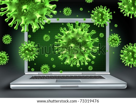 Computer virus symbol represented by a laptop with green cyber attacking bacteria hacking into the internet network.