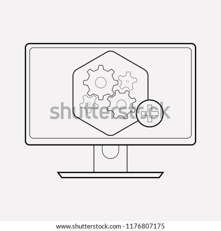 Computer widget icon line element.  illustration of computer widget icon line isolated on clean background for your web mobile app logo design.