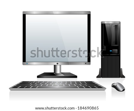 Computer with Monitor Keyboard and Mouse - Raster Version