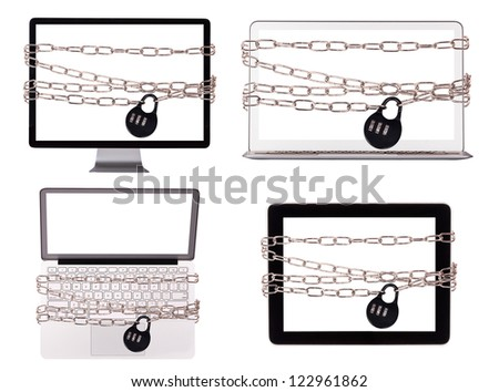 computer wrapped in chains security concept isolated