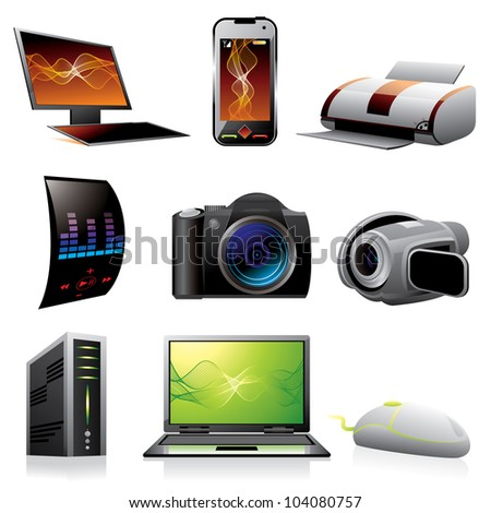 Computers and electronics icons. Raster version, vector file ID: 101281972
