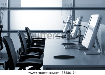 Computers with LCD screens in office