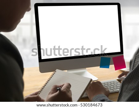 Computing Computer  Laptop with blank screen on table , freelancer is working on a new project on laptop computer with blank copy space screen , Comfortable workplace with modern computer