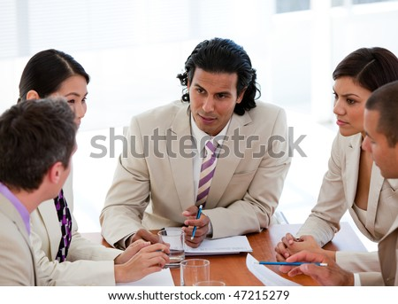 Concentrated business team having a meeting in a company