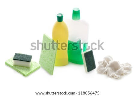 concentrated liquid screen wash in plastic bottle and diluted in jug isolated