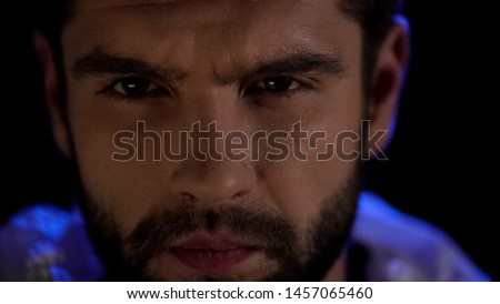 Concentrated male face closeup, work attention, professional thinking of problem