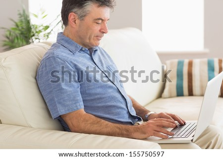 Concentrated mature man using a laptop sitting on a sofa