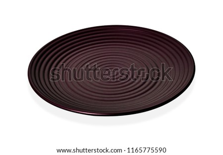 Concentric circles plate, Empty dark red ceramic plate in wavy pattern, isolated on white background with clipping path, Side view                          #1165775590
