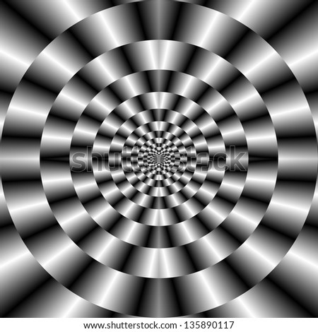 Concentric Rings in Monochrome / Digital abstract fractal image with a concentric circle design in black and white.