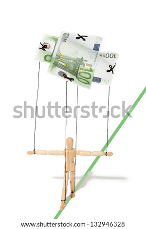 concept, a puppet controlled by money