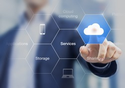 Concept about cloud computing, applications, storage, and services with a businessman touching a button on virtual screen