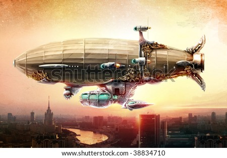 Concept art. Dirigible balloon in the sky over a city.