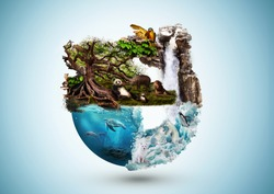 Concept art of Earth and animal life in different averments. Excellent for themes: Earth, Nature, Preservation of wild life and many more.