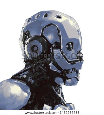 Concept art of male futuristic cyborg with modern helmet and metal armor. Science fiction character. Cyberpunk robot man. Cyber technology. Digital art style. Monochrome illustration. Digital painting