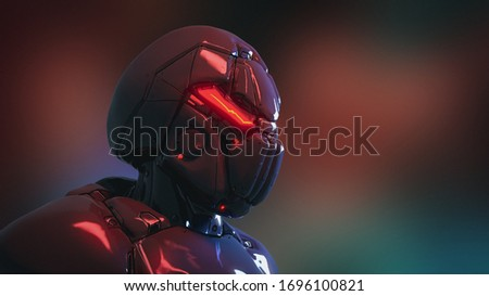 Concept art of male futuristic cyborg with modern helmet, metal armor. Science fiction character. Cyberpunk robot man soldier concept with red luminous eyes. Cyber technology. 3d render with drawing