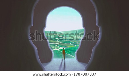 Concept art of nature freedom dream success brain and hope  , conceptual idea artwork, surreal painting man with happiness of landscape nature in a door ,  illustration