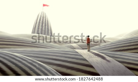 Concept art of  success hope dream and ambition , surreal landscape painting, man looking at flag on mountain , imagination artwork