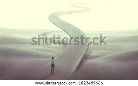 Concept art of  success hope dream way and ambition , surreal landscape painting,  man with floating road , imagination artwork, conceptual illustration, mystery scenery