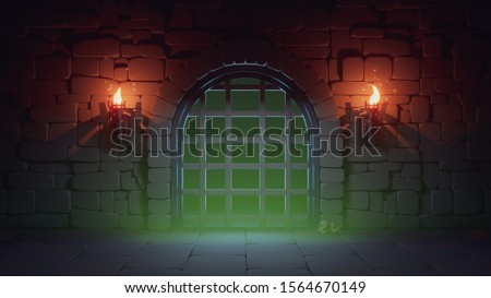 Concept art prison in dark medieval dungeon with stone walls, large metal jail door and burning torches. Cartoon game location prison cell interior with green poisonous gas and skulls. 3d illustration