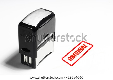Concept authenticities of objects and goods, the stamp on the white background with the inscription stock photo