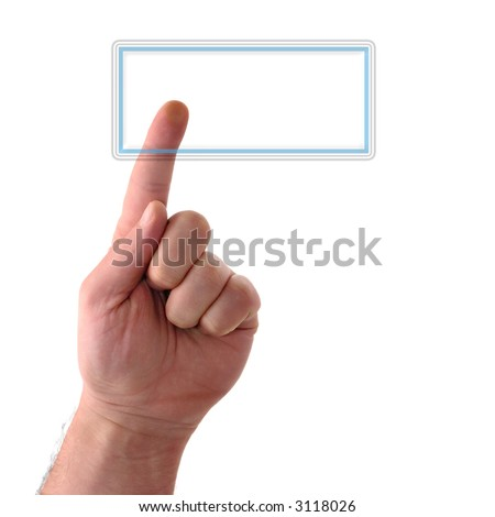 Concept : Big rectangular glass button. Your text may be easily added.