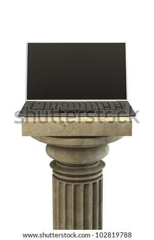 Concept. business laptop on the Column Pedestal isolated on white background High resolution 3D