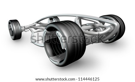concept car frame Isolated on white background. High resolution 3d render