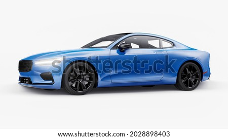 Concept car sports premium coupe. Blue car on white background. Plug-in hybrid. Technologies of eco-friendly transport. 3d rendering