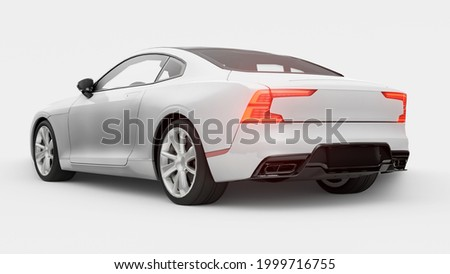 Concept car sports premium coupe. Plug-in hybrid. Technologies of eco-friendly transport. White car on white background. 3d rendering.