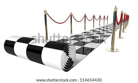 concept. checkered carpet isolated on a white background High resolution 3d render