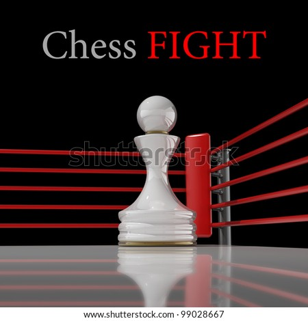 concept. chess pawn on a boxing ring 3D render (Hi-Res). background