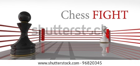 concept. chess pawn on a boxing ring 3D render (Hi-Res). Isolated on white background