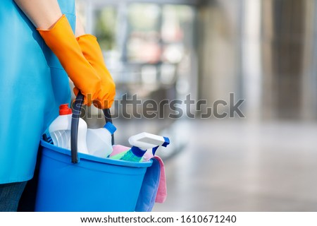 Concept cleaning services. The cleaning lady with a bucket and cleaning products .