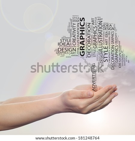 Concept conceptual abstract art design word cloud tagcloud tree on rainbow sky  background metaphor to graphic, nature, ecology, child, young, idea, style, creative, fashion, artist, decor or abstract #181248764