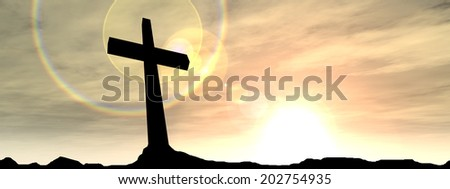 Concept conceptual black cross or religion symbol silhouette in rocks over a sunset or sunrise sky with sunlight clouds background for God Christ Christianity religious faith Jesus or belief