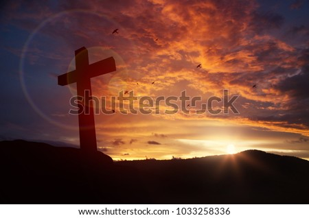Concept conceptual black cross religion symbol silhouette in grass over sunset or sunrise sky - Shutterstock ID 1033258336
