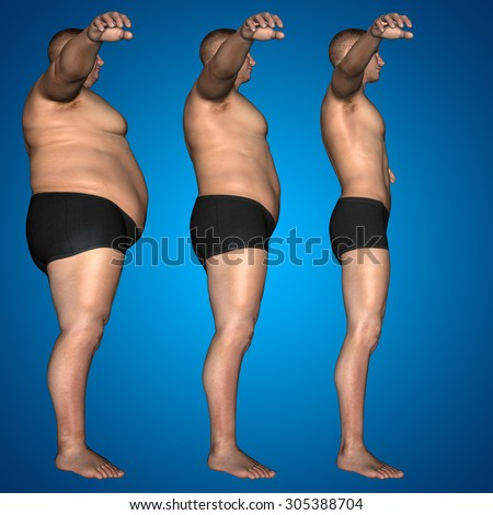 Concept, conceptual 3D fat overweight vs slim fit diet with muscles young man blue gradient background metaphor for weight loss, body, fitness, fatness, obesity, health, healthy, male, dieting, shape